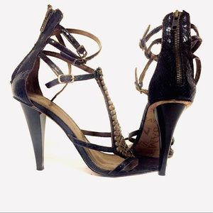 Sam Edelman bronze beaded strap heel